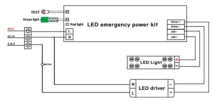 LED emergency kit wiring diagram